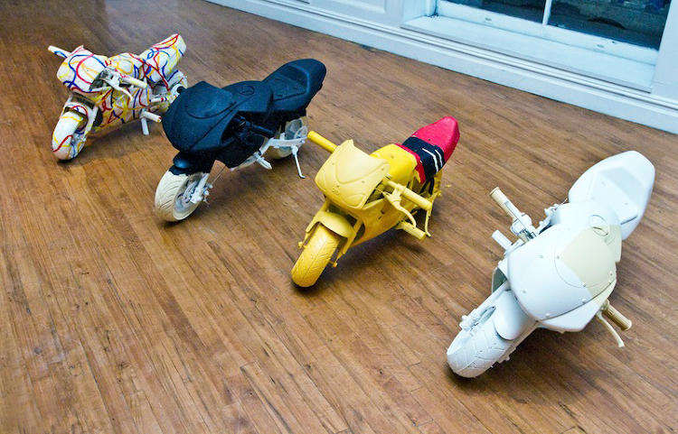 <p>More pocket bikes, coated in works from Brice Marden, Mark Rothko, Clifford Still, &amp; Kazimir Malevich.</p>