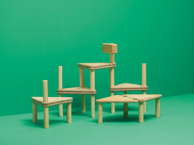 <p>Erika Gunnerblad's Fall Out stool is made of traditional Swedish wood and can be combined with other stools to create a chair or table.</p>