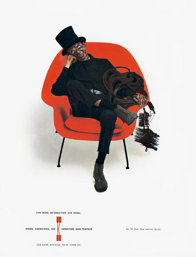 <p>A chimney sweep in Eero Saarinen's Womb chair appeared in a Knoll ad on the inside front cover of the <em>New Yorker</em>'s anniversary issue in 1958. By Herbert Matter.</p>
