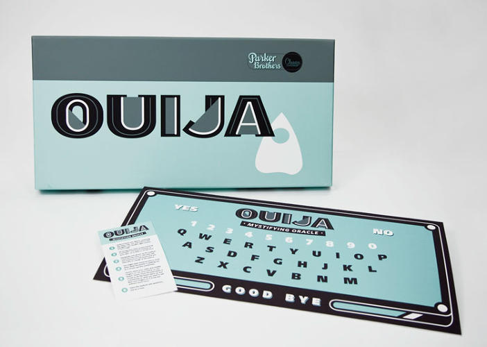 <p>&quot;Creating the packaging and content for Ouija was my favorite part of this series. Using cool, nocturnal colors, and bold, heavily modified lettering, I wanted to convey a feeling of alienation and dysfunction. The board itself is laid out in QWERTY, giving the spirits a chance to use a more modern way of contacting the living, and the simple layout of the board and instructions provides more clarity for the players.&quot;</p>