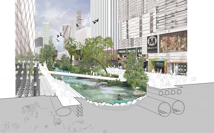 <p>Wilshire Boulevard, one of the city's most famous streets (and one designed specifically for the automobile) is reinvisioned as a wildlife corridor complete with an urban waterway.</p>