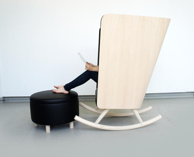 <p>Move over, granny! Kyle Fleet's rocking chair is super stylish, with its wood shell and wool upholstery, plus it's big enough to give harried workers visual and acoustic privacy from the rest of the office.</p>