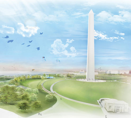 <p>Balmori Associates and Work Architecture Company imagine a grassy expanse on the Washington Monument grounds at the Sylvan Theater.</p>