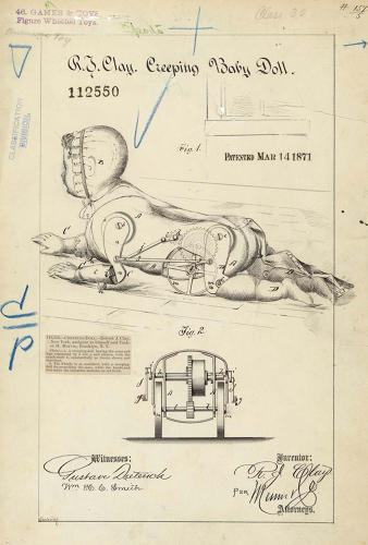 <p>This 1871 patent for a mechanical crawling doll was accompanied by a fairly terrifying working model.</p>