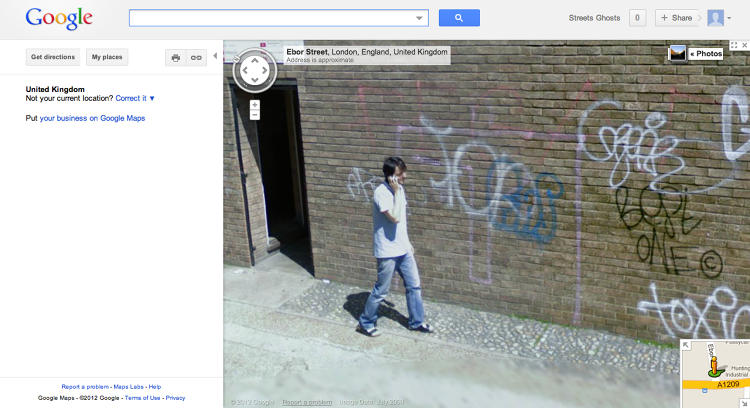 <p>Italian artist Paolo Cirio uses wheat paste to glue their life-sized likenesses to the spots they appear in front of on Google Maps.</p>