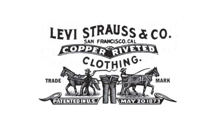 <p>Still used on the back of jeans today, the first logo dates to the 1890s.</p>