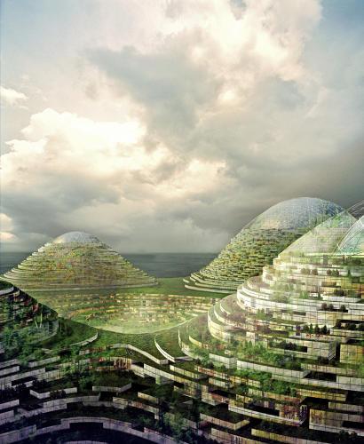 <p>The central innovation is a move from our traditional 2D city grid to a 3D one; buildings wrap horizontally around geodesic domes instead of stretching vertically into the sky.</p>
