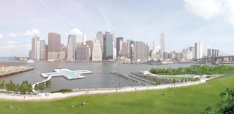 <p>The trio wants to build a massive, floating pool in the East River.</p>