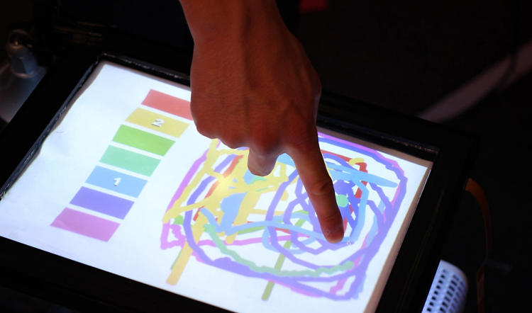 <p>In this demo, users can each claim their own color. Then, whenever they touch the screen, they can paint in that color with no other prompts.</p>
