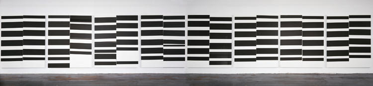 <p><em>Untitled</em> (2008). This eight-panelled painting, also printed on linen, shows Guyton experimenting with his signature black marks, which he originally developed by printing on pages ripped from old art and design books.</p>