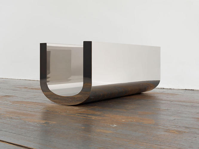 <p><em>U Sculpture (v. 6)</em> (2007). Guyton works in 3-D, as well. Here, he translates a mark he often uses on paper, &quot;U,&quot; into mirrored stainless steel. He ultimately made ten versions of the piece.</p>