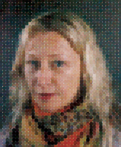 <p>In an exciting move, Close has also begun using digital printing in his works. Here, another portrait of Cindy Sherman printed using watercolors. <em>Cindy</em>, (2012).</p>