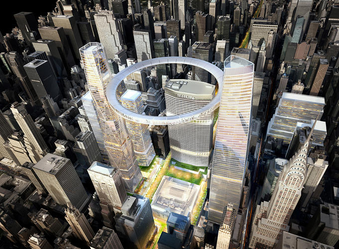 <p>As the city prepares to rezone Midtown East, three Manhattan architecture firms have imagined the potential for the proposed rezoning. SOM's proposal, for a floating observation deck, is by far the most dramatic.</p>