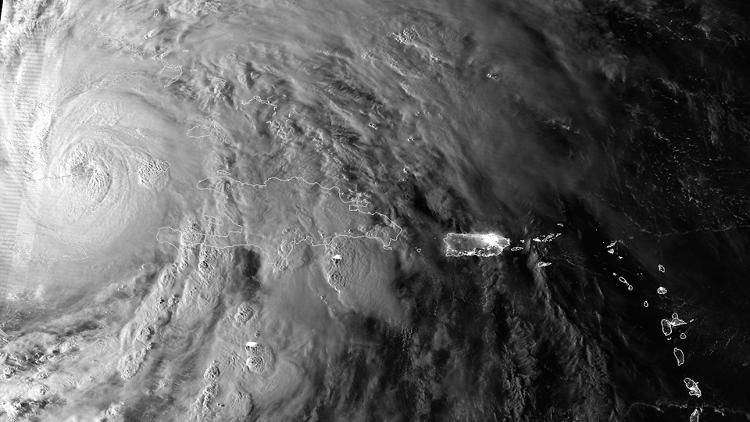 <p>A day/night band image from the NOAA shows the storm after it passed through Jamaica, thanks to the Suomi NPP satellite.</p>