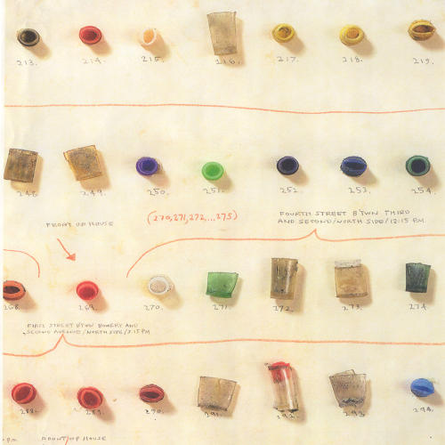 <p>One popular commenter suggested that a crack vial represents the 1980s, when New York saw the height of the crack epidemic. Detail from Candy Jernigan's <em>Found Dope: Part II</em>, found objects on paper, 1986.</p>
