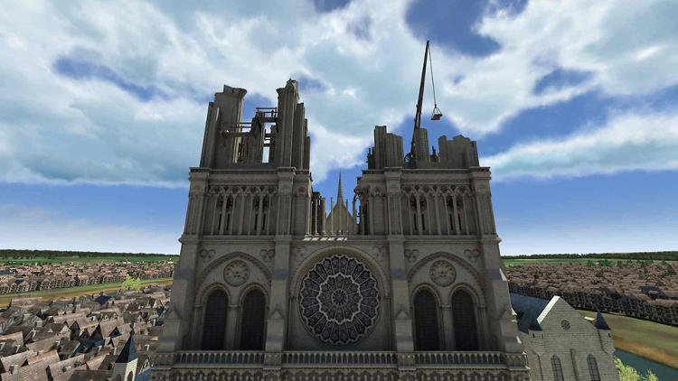 <p>Notre-Dame de Paris is one of the most visited sites in the city showcased here as a reconstructed historical monument with panoramic views in 3-D.</p>