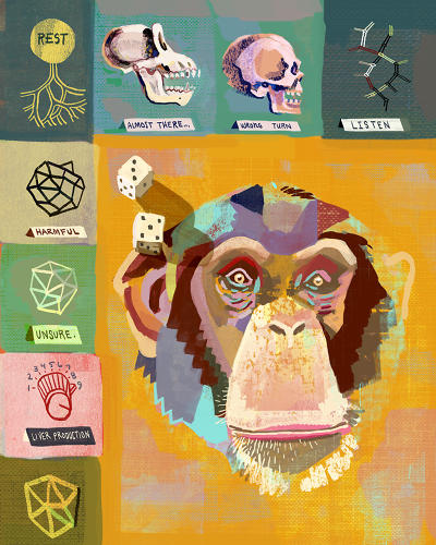 <p>Why are humans and chimps so different if they have nearly identical DNA?<br /> - Matt Forsythe</p>