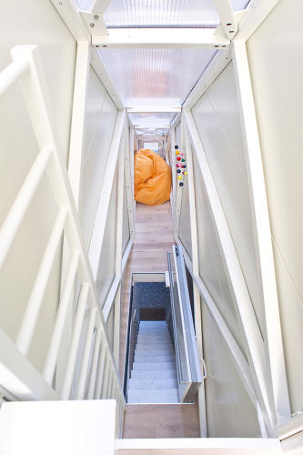 <p>The entryway stairs actually fold up to become the first floor's floor!</p>