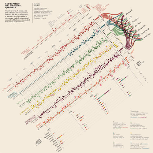 <p>Italian information architects Accurat produced this infographic of every Nobel prize winner in history.</p>