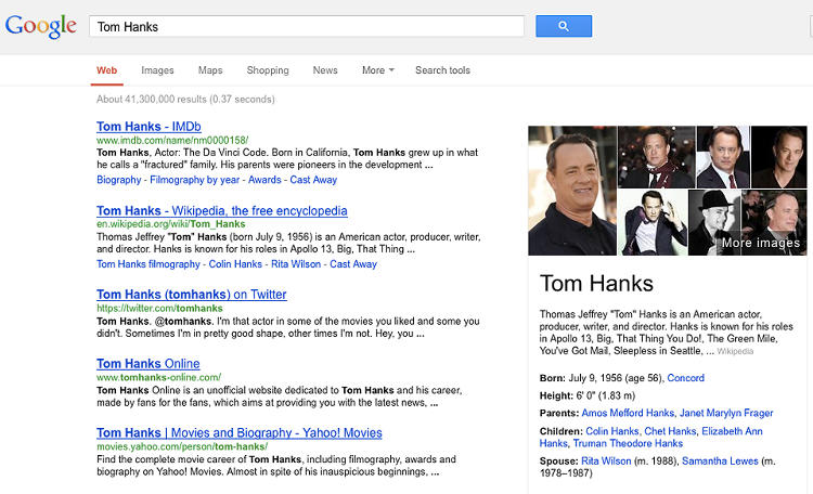 <p>Google's knowledge graph adds wikipedia-type factoids and photos to Google search results.</p>