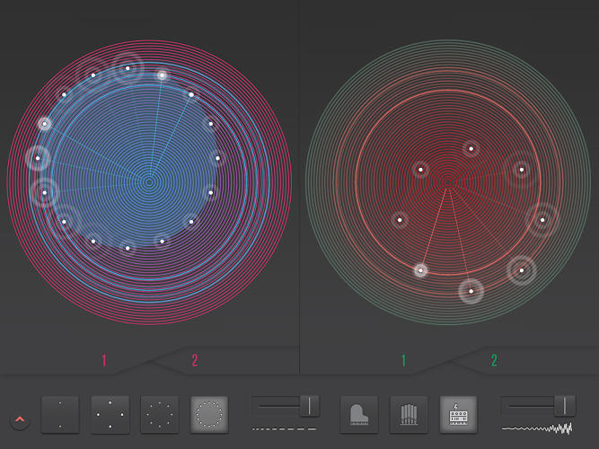 <p>But the Glass Machine may be the app's standout feature. Using two discs, you can instantly create polyrhythmic counterpoints, mixing them in real time like a DJ.</p>