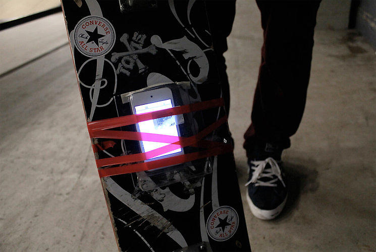 <p><strong><a href=&quot;http://www.fastcodesign.com/1671281/a-piece-of-software-that-breaks-down-skateboard-tricks-into-data#1&quot; target=&quot;_self&quot;>A Piece Of Software That Breaks Down Skateboard Tricks Into Data</a></strong></p>  <p>With the help of an iPod Touch strapped to the bottom of the deck, Design I/O created a clever piece of software that turns ollies and kickflips into colorful, geometric maps of data. Just try not to grind on anything. <a href=&quot;http://www.fastcodesign.com/1671281/a-piece-of-software-that-breaks-down-skateboard-tricks-into-data#1&quot; target=&quot;_self&quot;>Read more.</a></p>