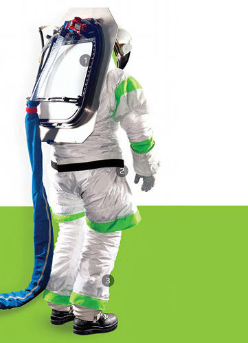 <p>The back of the suit features a porthole, which locks to the outside of a rover and allows the astronaut to slide right into the suit. (image: PopMech)</p>
