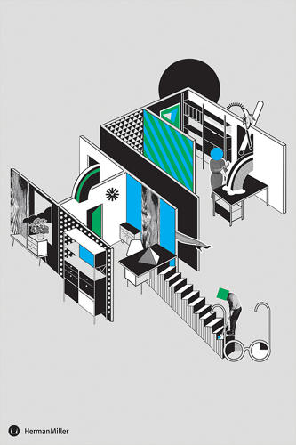 <p>Herman Miller's company initials are turned into an axonometric cartoon by illustrator Emily Forgot.</p>