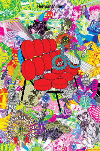 <p>Keiichi Tananmi goes appropriately psychedelic with Nelson's classic 1956 Marshmallow Sofa.</p>