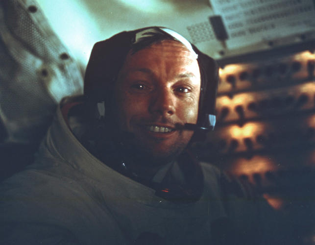 <p><strong>Neil</strong><br /> Neil Armstrong during the Apollo 11 mission.</p>