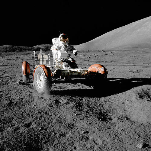 <p><strong>Lunar Rover, Roving</strong><br /> Astronaut Eugene A. Cernan, commander, makes a short checkout of the lunar rover during the early part of the first Apollo 17 extravehicular activity at the Taurus-Littrow landing site. This view of the &quot;stripped down&quot; rover is prior to loading up. Equipment later loaded onto the rover included the ground-controlled television assembly, the lunar communications relay unit, hi-gain antenna, low-gain antenna, aft tool pallet, lunar tools, and scientific gear.</p>