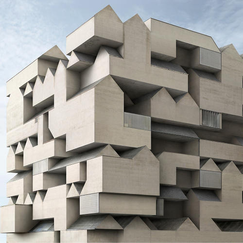 <p>He delights in repetition--for example, here, he turns concrete-clad gables into an architectural motif.</p>