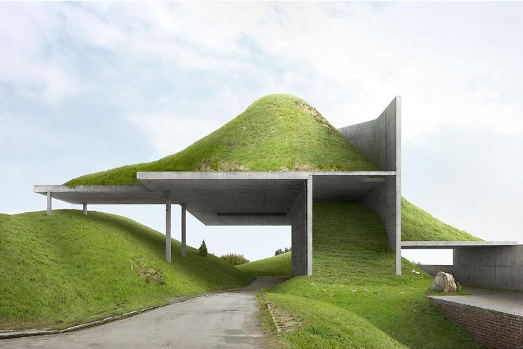 <p>A modernist icon--the &quot;organic hillock&quot;--is perverted by precast foundations.</p>