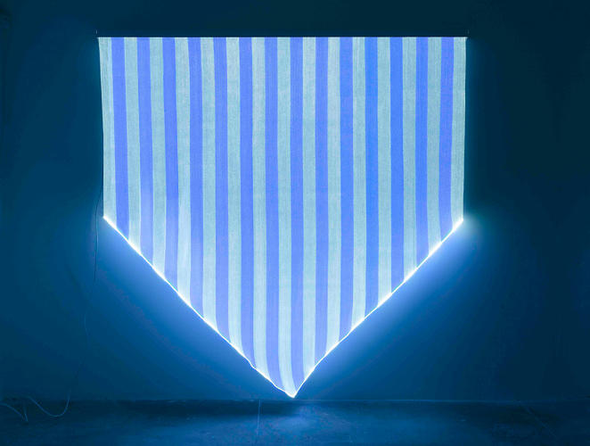 <p><em>Electricity Paper Vinyl</em>, a show of new work by the French artist Daniel Buren, opened yesterday in New York.</p>