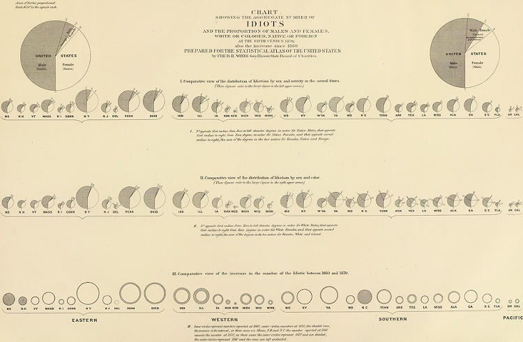 <p>This is one of several graphics Walker designed with Frederick Wines, a leading criminologist of the era. Walker was not satisfied with simply identifying the number in 1870, but measured it against the prior census to investigate rates of change.</p>