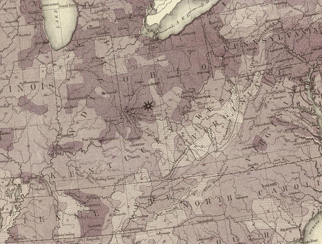 "<p>The darker shading indicates progressively higher densities of settlement. The star just east of Cincinnati denotes the ""center"" of the population at 1870.</p>"