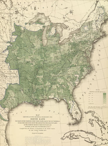 <p>Here the darker the region, the more fertile the population. Walker was concerned that the native white population failed to maintain expected growth during the 1860s, even after accounting for the monumental casualties of the war.</p>