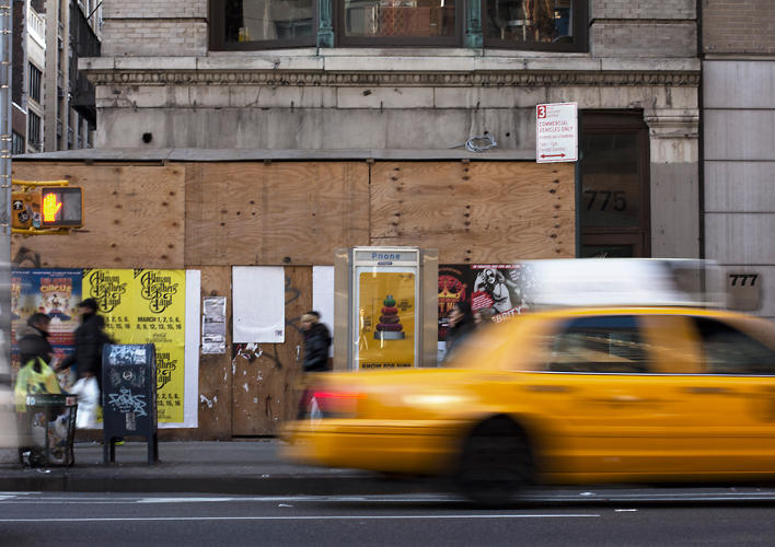 <p>The signs were designed by Pentagram's Michael Bierut, who worked with the Department of Transportation to simplify and clarify both the content and design of the signs.</p>