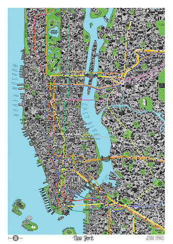 <p>Jenni Sparks, a U.K.-based Illustrator, created this hand-drawn map of New York City (well, three boroughs of it).</p>