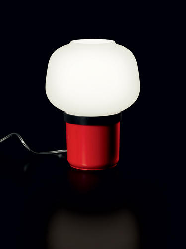 <p>The lamps have a polycarbonate and ABS columnar bases topped with a rounded, blown glass shade.</p>