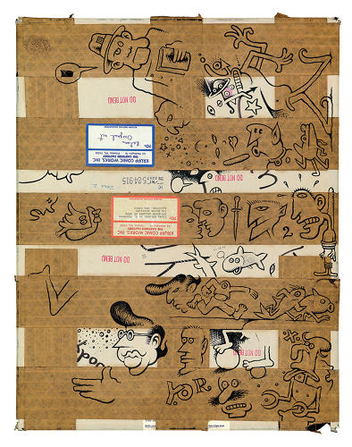 <p>Underground comic artist Denis Kitchen probably takes the prize for most unconventional canvas with this doodled-on parcel.</p>