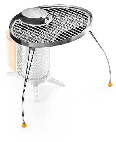 <p>The new BioLite Portable Grill lets you cook food atop the biomass stove.</p>