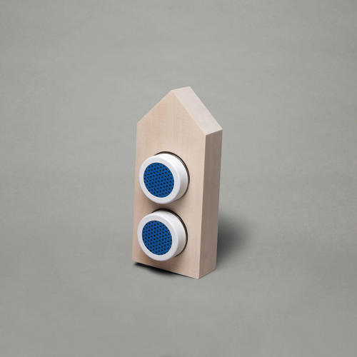 <p>In order to celebrate the launch and show the potential of the product, Mike Giles commissioned six artists to create their own speakers. Here's Aaron Daley's A-frame frame.</p>