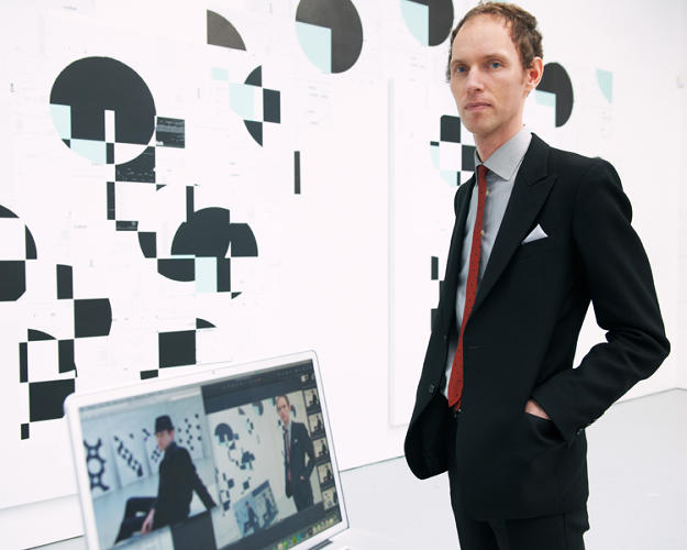 <p>Frankfurt artist Michael Riedel, seen here with his new solo show, <em>PowerPoint</em>, in New York.</p>