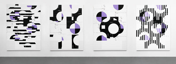 <p>Four screen printed works hang on the wall.</p>