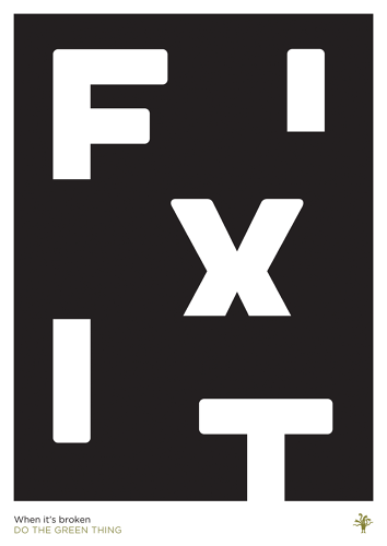 "<p>Encouraging people to fix things instead of throwing them away was the aim of Pentagram designer Dom Lippa with his poster.</p>  <p>""Solving things that are broken seems to be at the centre of what we as a society need to do. Most of the environmental issues that we are facing are due to our own doing so we need to fix them. It's basic problem-solving which we as designers have to do every day and we need to apply this attitude to some of the world's bigger problems."" <strong><a href=&quot;http://dothegreenthing.tumblr.com/post/45978126326/domeniclippa&quot; target=&quot;_blank&quot;>Read more.</a></strong></p>"