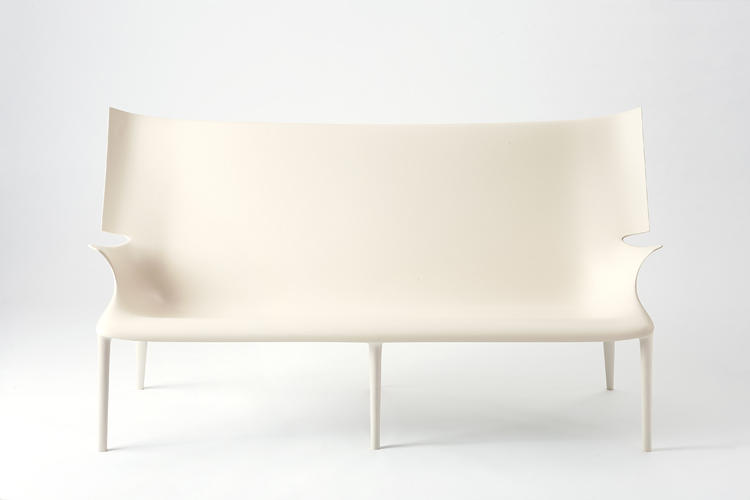 <p>The Uncle Jack sofa is over six feet long, yet its hard plastic casing makes it possible for it to stand on just six legs.</p>