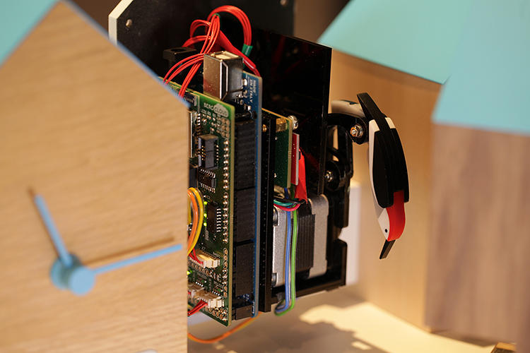 <p>It's kind of like a modern take on the cuckoo clock. But inside, it's loaded with Berg's Cloud Dev Kit and an arduino.</p>