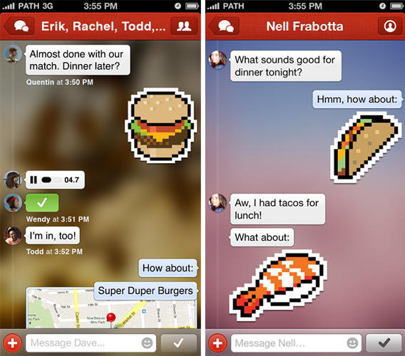 <p>The stickers are Path's answer to emoji--fun, oversized stamps showing all manner of subjects.</p>