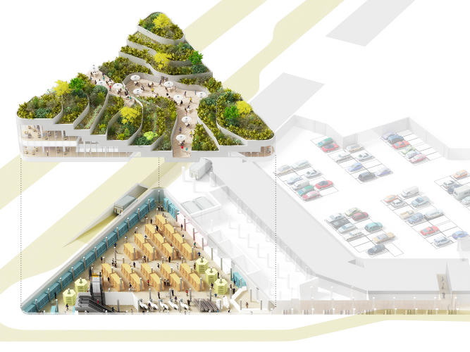 <p>A cutaway of the proposal: the above grade pavilion and roof garden and the below-ground supermarket.</p>
